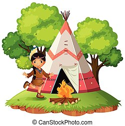 Indian infront of teepee illustration