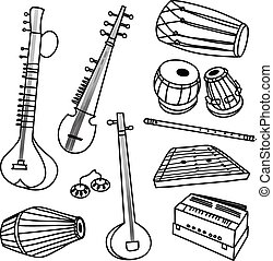 vector set of isolated traditional indian instruments