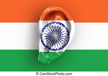 Indian intelligence concept, ear on the flag of India. 3D rendering