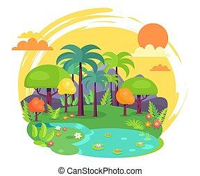 Indian Jungle Full of Green Trees Illustration