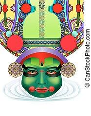 indian kathakali dancer face decorative modern vector...
