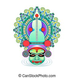 indian kathakali dancer face decorative modern vector...