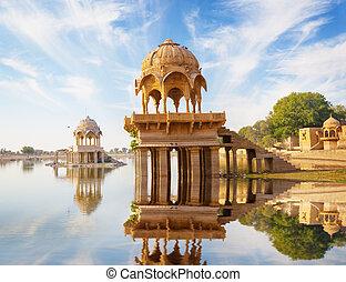 Indian landmarks - Gadi Sagar temple on Gadisar lake -...