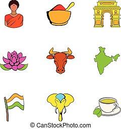Indian lotus icons set, cartoon style