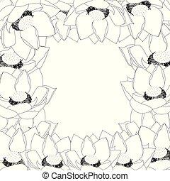 Indian lotus Outline Border2