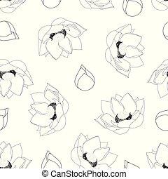 Indian lotus Outline on White Background. (Nelumbo...