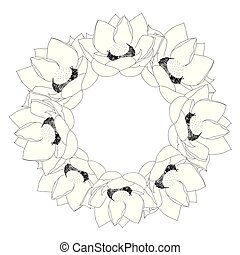 Indian lotus Outline Wreath