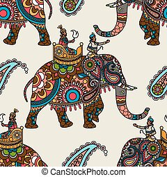 Indian maharadjah on elephant seamless background