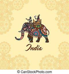 Indian maharaja on elephant mandala ornament