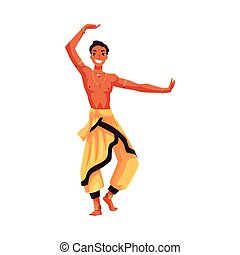 Indian male dancer in traditional harem pants, Bollywood performer