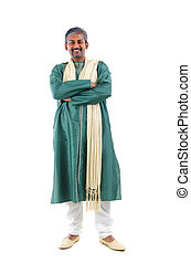 indian male in dhoti dress, full body crossed arm