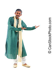 indian male in dhoti dress, full body welcome gesture