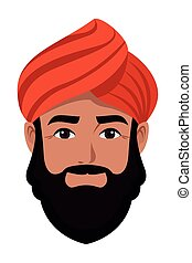 indian man face avatar cartoon