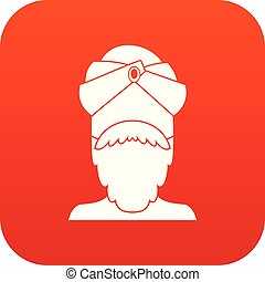 Indian man icon digital red