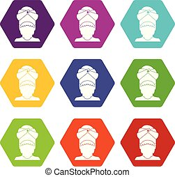 Indian man icon set color hexahedron