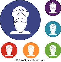 Indian man icons set
