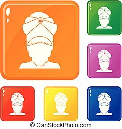 Indian man icons set vector color