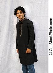 indian man model wearing kurta and jeans