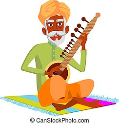 indian man pensioner playing on sitar cartoon vector