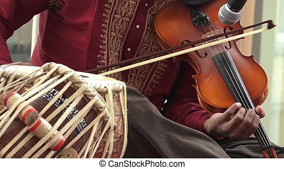 Indian man play on Violin - Indian man play music on musical...