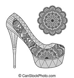 Indian mandala and shoe - Ornament beautiful mandala and...
