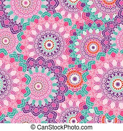 Indian mandala colored seamless pattern. Vector illustration.