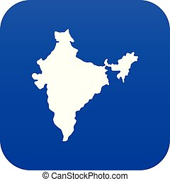 Indian map icon digital blue