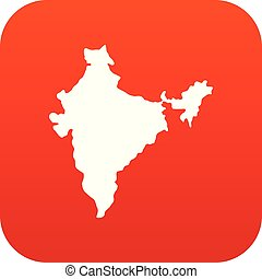 Indian map icon digital red