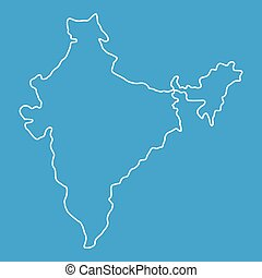 Indian map icon, outline style