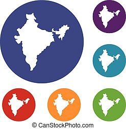 Indian map icons set