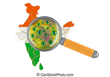 Indian map with coronavirus under magnifier, 3D rendering