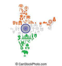 Indian Map with Cultural Object