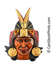 Indian Mayan Aztec ceramic painted mask isolated on white