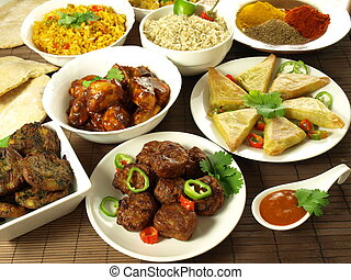 Indian meal - Indian cuisine: main courses, appetizers and...