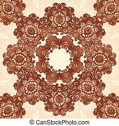 Indian mehndi henna tattoo style mandala seamless pattern