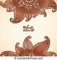 Indian mehndi henna tattoo style vector card