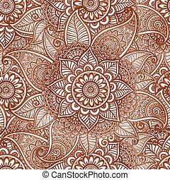 Indian mehndi henna tattoo style vector seamless pattern