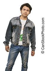 indian model posing with denim jacket
