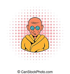 Indian monk in sunglasses icon, comics style