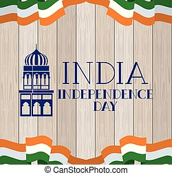 indian mosque temple with flag in wooden background