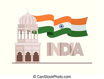indian mosque temple with flag