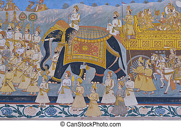 Indian Mural - Colorful indian mural in the fort at Jodhpur...