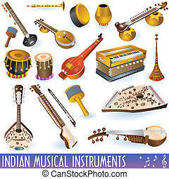 A colored collection of different traditional Indian musical instruments.