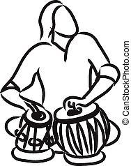 Indian musician playing tabla - vector silhouette of indian...