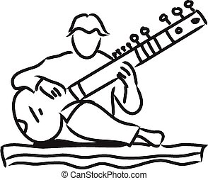 vector silhouette of indian musician playing the sitar