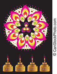 Indian Oil Lamp and pattern