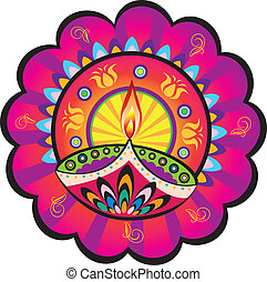 Indian oil lamp - Stock Vector Illustration: Indian new year...