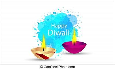 Indian oil lamp to Diwali, art video illustration.