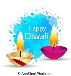 Indian oil lamp to Diwali
