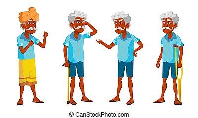 Indian Old Man Poses Set Vector. Elderly People. Senior ...